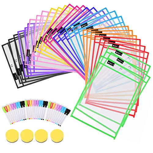 Dry Erase Pockets 30 Set Dry Erase Sleeves Oversized 10 x 14 Inches Teacher-Supplies- for-Classroom-Reusable-Dry-Erase-Pockets-Sleeves Assorted Colors WOT I (30 Set)