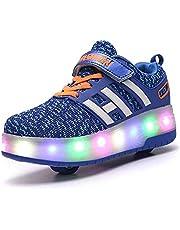 Rolschaatsen Dubbele Wielen Pully Schoenen Kleur Veranderende LED Luminous Roller Shoes Inline Intrekbare Outdoor Sport Shoes Skateboarden Shoes Voor Jonge Meisjes