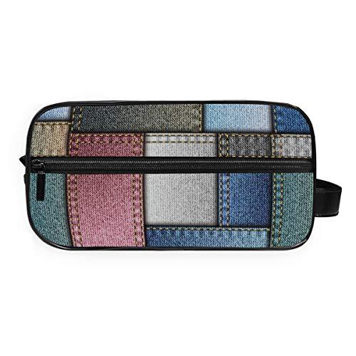 Montoj - Bolsa de aseo para cosméticos, color vaquero con textura, bolsa de maquillaje, bolsa de gárgaros para viajes y hogar