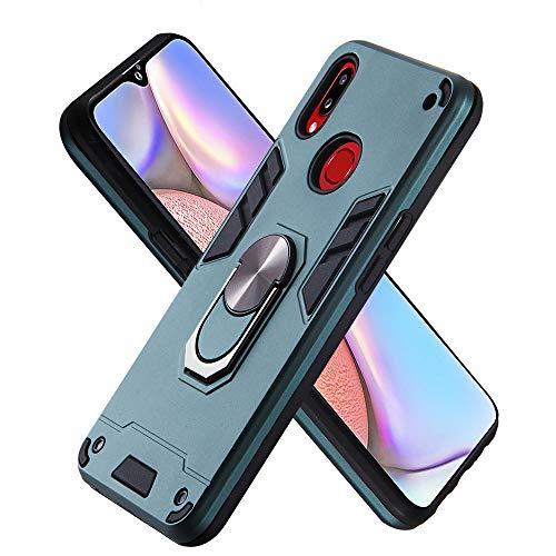 Hülle für Samsung Galaxy A10S mit Standfunktion, PC + TPU Rüstung Defender Ganzkörperschutz Hard Bumper Silikon Handyhülle stossfest Schutzhülle Case (Dunkelgrün)