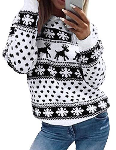 Weihnachten Damen Pullover, Teenager Mädchen Weihnachtspulli Rentier und Schnee Langarm Christmas Sweatshirt Vintage Xmas Pulli Weihnachtspullover Oberteile Langarmshirt Shirts Bluse (Schwarz, XL)