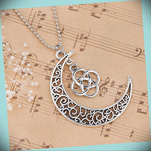 Celtic Crescent Moon With Celtic Knot Statement Chunky Rhinestone Necklace for Women With 24 In Ball Chain