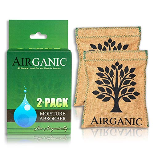 Airganic Natural Dehumidifier Bag, Absorbing Power of USA Minerals & Plants (2 Pack) Car, Safe, Closet, Gun Safe - Kid & Pet Friendly Lifetime Mini Reusable Moisture Absorbers for Home, Bathroom, RV
