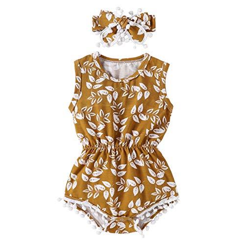 I3CKIZCE Juego de ropa de bebé para bebés de 0 a 24 meses, 2 unidades de pelele + diadema para el pelo con estampado floral sin mangas, cinta de lazo, moda dulce y casual amarillo 0-6 Meses