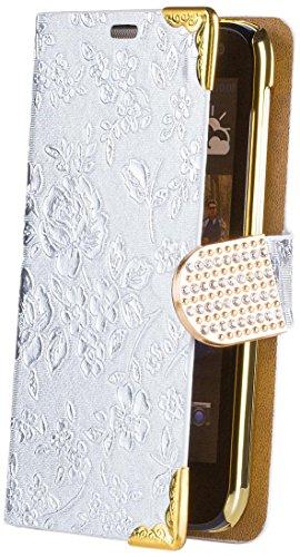 iCues HTC Desire 310 | Chrom Blumen Tasche Silber | [Bildschirm Schutzfolie Inklusive] Floral Strass Glitzer Glitter Luxus Bling Damen Frauen Mädchen Chrome Book Klapphülle Schutz Etui Handytasche zum aufklappen Flip Hülle Schutzhülle Booklet Hülle Wallet