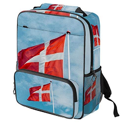 TIZORAX - Mochila escolar para niñas y niños, diseño de bandera danesa