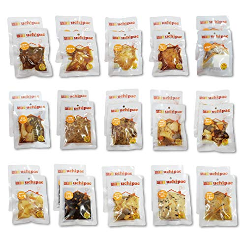 [Amazon限定ブランド] ウチパク レトルトおかず全15種類×2個 計30パックセット [非常食にも使える] 保存料 着色料 無添加・国産野菜使用・常温保存 賞味期限 1年