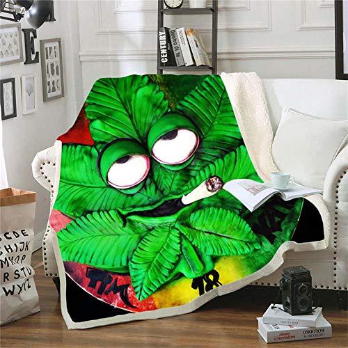 Wnyun Mantas para Sofa Cama 130 X 150 cm Plaid Sofa Franela Manta Polar,3D Impresión Fumar Hoja De Arce Verde Colchas Plaid...