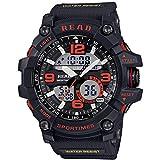 Uhren Read R90001 Luminous & Alarm & Date & Week Anzeige Funktion Quarz-Uhrwerk-Mann-Sport-Uhr mit Gummiband (orange) Asun (Color : Khaki)