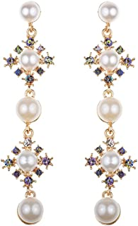 Metme Drop Shape Lange Ohrringe Strass Simulierte Perle Partyzubehör Tiered Ohrringe Gatsby Kostüm Accessoires Schmuck