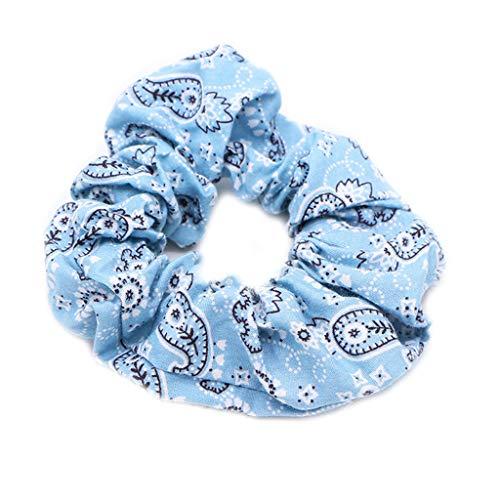 JERKKY Femmes Filles Froncées Plissée Gros Intestin Cheveux Corde Ethnique De Bohème Rétro Paisley Floral Imprimé Titulaire De La Queue De Cheval Bandana Scrunchies Bleu