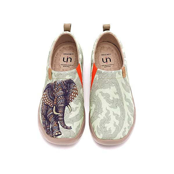 UIN Women's Flats Canvas Lightweight Sneakers Slip Ons Walking Casual Elephant Art Painted Travel Holiday Shoes Chang Thai