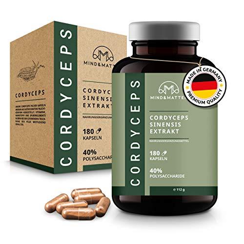 MIND&MATTER® Premium Cordyceps Kapseln – [180] Stk. à [500]mg hochdosiert – Pro Tagesportion [1.000]mg CS-4 Extrakt [10:1] – Über [40]% Polysaccharide – Ohne Zusätze – Laborgeprüft – Braunglas