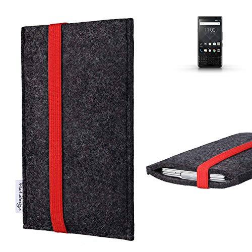 flat.design vegane Handy Tasche Coimbra für BlackBerry KEYone Black Edition - Schutz Hülle Tasche Filz vegan fair rot