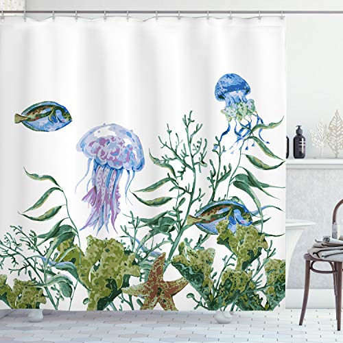 """Ambesonne Ocean Shower Curtain, Watercolor Style Effect Sea Life Pattern with Seaweed Jellyfish and Fish, Cloth Fabric Bathroom Decor Set with Hooks, 75"""" Long, Jade Green"""