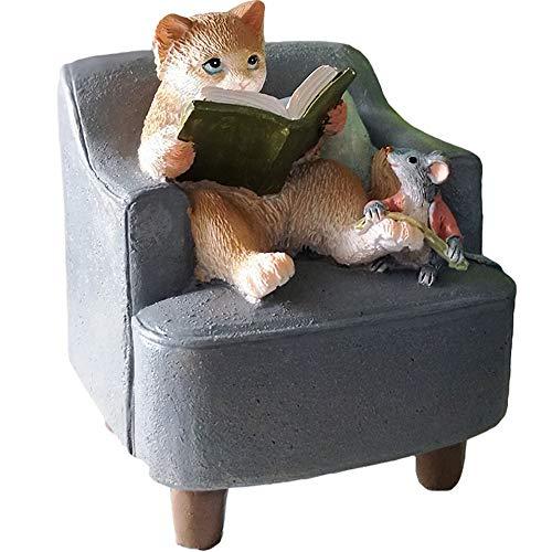 eTACH Dekofigur Katze mit Ratte, aus Kunstharz, 6,5 x 6,5 x 8 cm