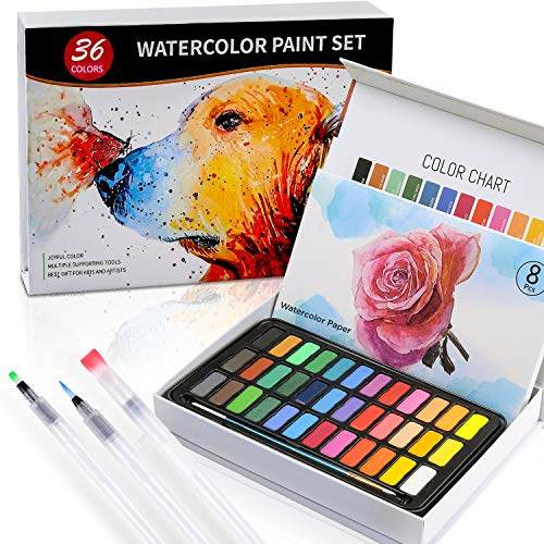 Watercolor Paint Set - Watercolor Includes 36 Premium Colors in Gift Box +Paper 8 Sheets +3 Water Fill Brushes +1 Paint Brush of Nylon for Artists, Beginners, Students, Kids