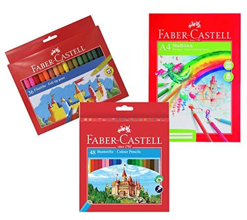 Faber-Castell Marker Filzstifte (- Multi-Coloured, 36 Filzstifte + 48 Buntstifte + A4 Malblock)