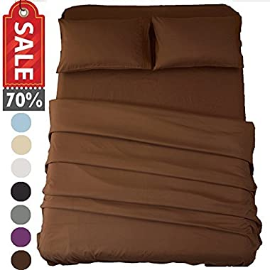 Sonoro Kate Bed Sheet Set Super Soft Microfiber 1800 Thread Count Luxury Egyptian Sheets 16-Inch Deep Pocket Wrinkle and Hypoallergenic-4 Piece(King Brown)