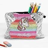 Rainbow Unicorn Custom Zippered Sequin Kids Accessories Bag | School Pencil Pouch