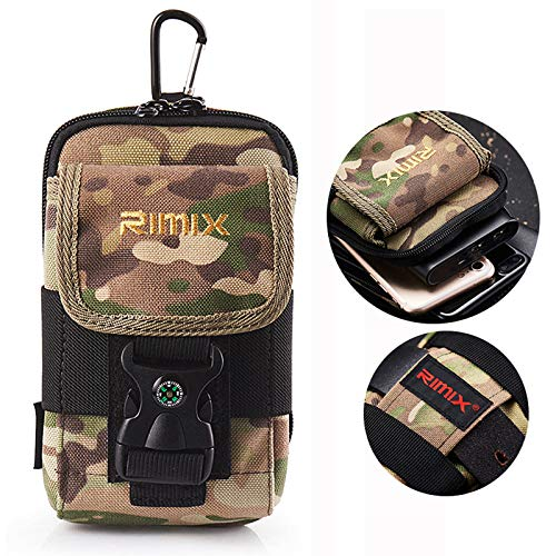 Small Utility Cell Phone Holster Case, Techcircle Nylon EDC Pouch Tactical Belt Waist Pack Gadget Belt Purse with Compass Buckle and Carabiner for Travel Camping Hiking Cycling Outdoor Sports, Camo
