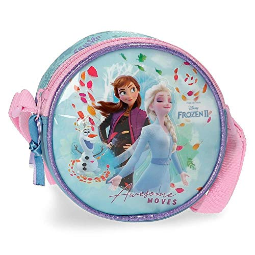 Disney Frozen Awesome Moves Bandolera Redonda Azul 14x14x4 cms Microfibra y PVC.