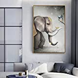 Eryan Decoración del hogar Lienzo No Framerdic Elefante Pájaros Pinturas Pinturas Muro Impresiones Cartel creativo Modular Modular para sala de estar 60 cm x 90 cm Marco