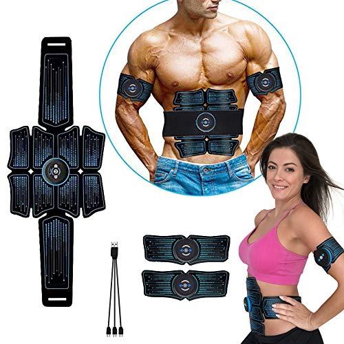 eAnjoy EMS Pads, ABS Stimulator Muscle Toner, Abdominal Toning Belt Muscle Trainer, Portable Fitness Trainer for Abdomen, Arm and Leg, with 6 Modes 8 Levels, USB Charging (8-Pack)