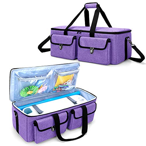 YARWO Carrying Case Compatible with Cricut Maker, Cricut Explore Air (Air 2), Silhouette Cameo 4, Craft Storage Tote Bag for Die-Cut Machine and Accessories, Purple