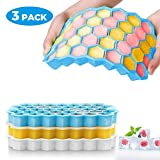 OCOOPA Ice Cube Trays Silicone, 3 Packs of 111 Cubes Hexagon Ice Cube Moulds, Easy-Release BPA Free Ice Tray with Lid for Baby Food, Water, Cocktails, Beer, Whiskey, Fruit Ice, for Family, Party & Bar