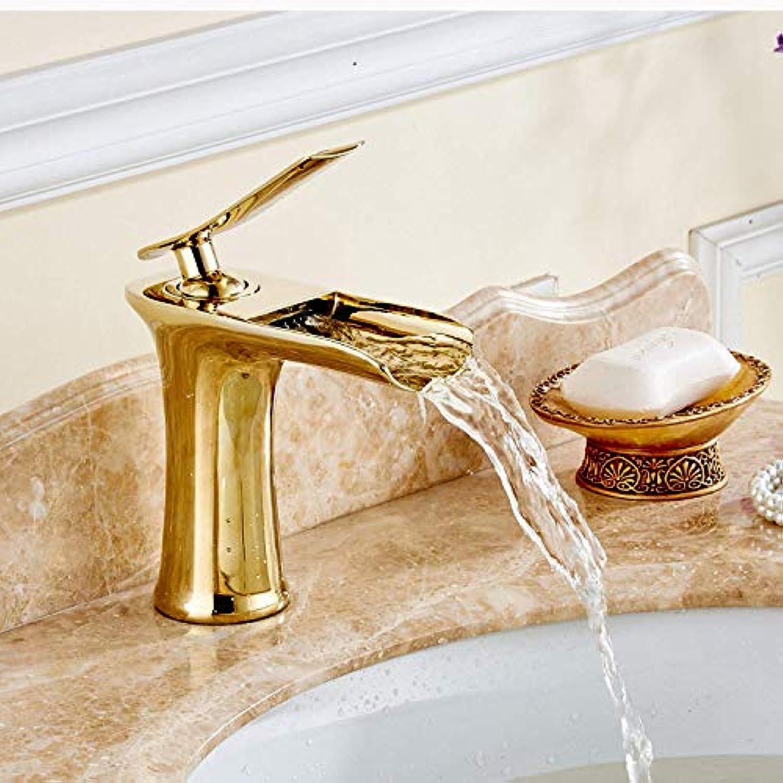 WMING Home Waschbecken-Mischbatterie Badezimmer-Küche-Becken-Hahn auslaufsicher speichern Wasser Kupfer Gold Wasserfall Küche
