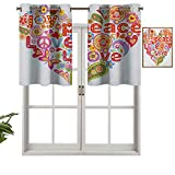 Panel de cortina para interiores y hogares, impresión con diseño de corazón floral con texto en inglés 'Happy Wish Hope Message', juego de 2, 137 x 91 cm para baño y cafetería