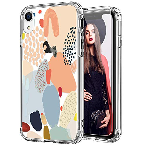 cheap iphone xr cases ICEDIO iPhone Xr Case with Screen Protector,Clear with Multi-Colored Painting Patterns for Girls Women,Shockproof Slim Fit TPU Cover Protective Phone Case for iPhone XR