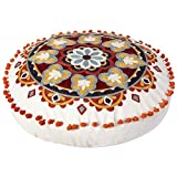 Colorful Bohemian Embroidered Round Floor Cushion, Modern Home Décor Pillow for Meditation, Yoga, and Boho Chic Seating Area Floor Pillow – Accent Your Living Room, Bedroom (18 inch Approx)
