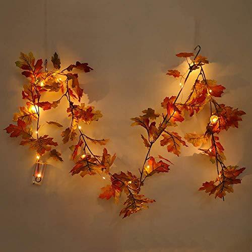 MISLD 2 Pezzi 1,5 m Artificiale Maple Leaf Rattan Foglie di Acero Garland String Autunno Haning Vines Autumn Harvest Seasonal Maple Corona w/LED Anteriore della Finestra del Portello Decorazione di
