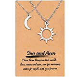 Shonyin Sun Moon Couple Necklaces for 2 Matching Relationship Jewelry Gifts for Him and Her Boyfriend Girlfriend GF BF Men Women Lover Valentines Day