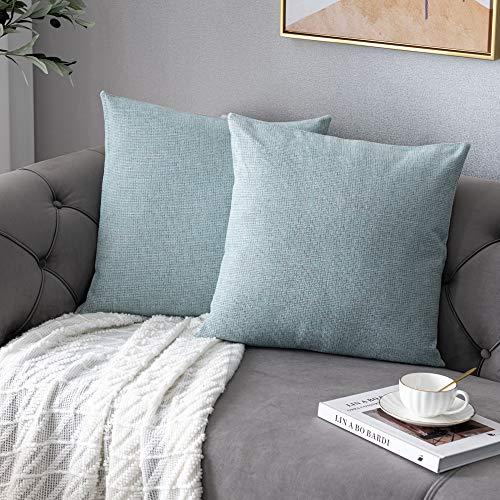 Anickal - Juego de 2 fundas de almohada de chenilla rústica de 20 x 50 cm, diseño de casa rústico de granja