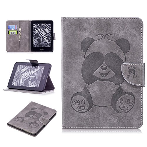 LMAZWUFULM Hülle für Amazon Kindle Voyage 3G (6,0 Zoll) PU Leder Ultra Dünn Magnetverschluss Lederhülle Panda Muster Ledertasche Flip Cover für Amazon Kindle Voyage Tablet-PC Gray