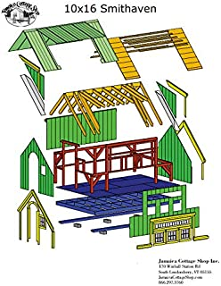 Timber Frame Post and Beam Cabin Plans - 10x16 Smithaven - Backyard Office, Guesthouse, Pool House or Stylish Storage Shed - Step-By-Step DIY Plans