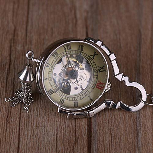 qwertyuio Reloj De Bolsillo con Cadena Relojes Retro De Bolsillo Dorado Relojes De Bolsillo Mecánicos Completos Hombres Mujeres Accesorios Regalos Plata