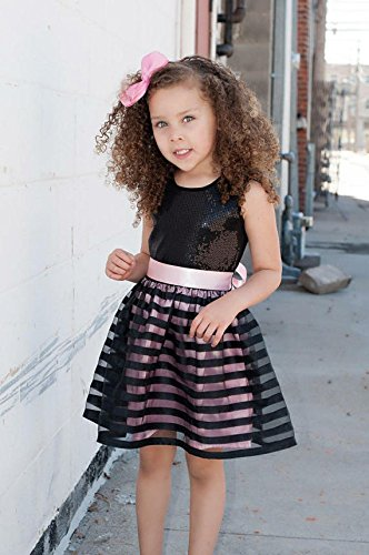 Black SEAL limited Soldering product Pink Striped Dress Sequin