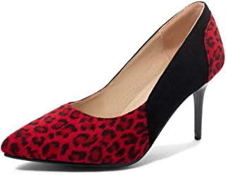 Leopard Print High Heels For Banquet Wedding Dress Daily (Color : Red, Size : 35)