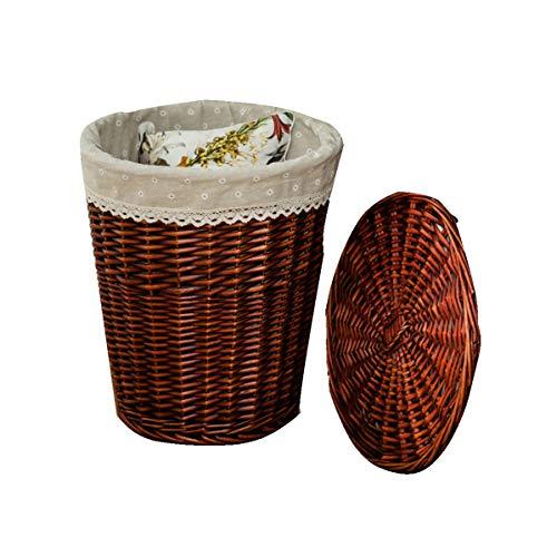 Shengluu Cesta de almacenamiento con tapa, caja de almacenamiento de mimbre cesta de almacenamiento de escritorio Snacks caja de acabado de tela de tejido (color: B, tamaño: mediano)