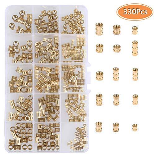 YANSHON M2 M3 M4 M5 Female Thread Knurled Nuts Kit 330Pcs Round Injection Molding Brass Threaded Insert Embedment Nuts Assortment Kit with Box