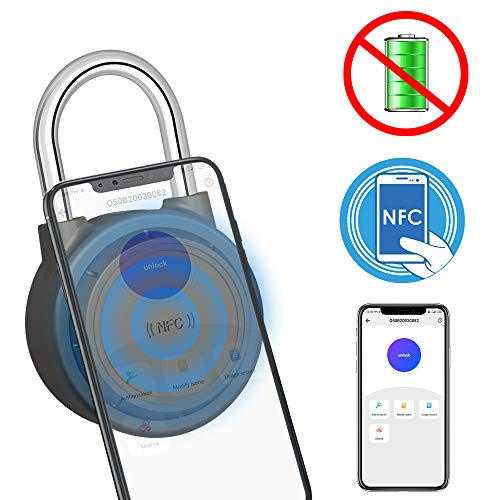 NFC Outdoor Lock with Smart APP, Smart Padlock with Keyless Biometric,Water Resistant, Suitable for Gym, Sports, Bike, School, Fence and Storage