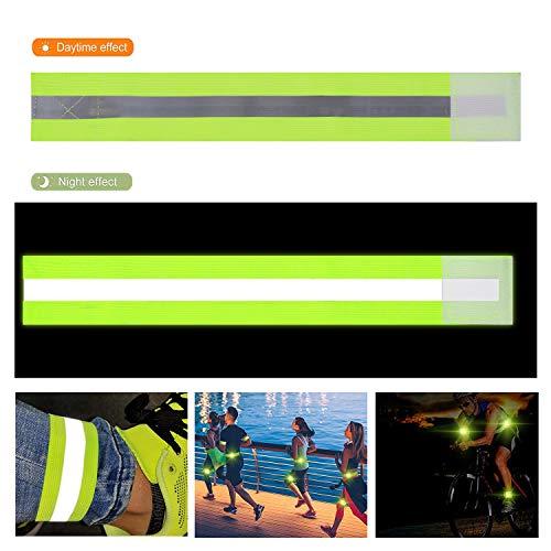 FUNVCE Reflektorband Reflektierendes Armband 6er Set Sicherheit Reflexband Outdoor Joggen Radfahren Fahrrad Laufen Reiten Kinder Klettverschluss Elastisch Leuchtband - Neon-Gelb - 5