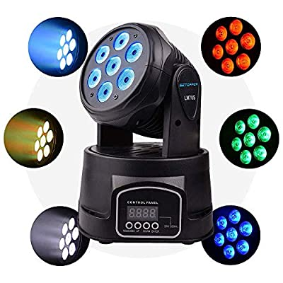 BETOPPER Stage Light LED Moving Head Professional DMX512 RGBW 7x8W 9/14CH Professional Mini Moving Head Lighting 4in1 Strobe Effect for dj Disco Party Restaurant Club Wedding Home Party