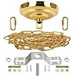Sangle Soppfy Vingage Canopy Kit and Pendant Light Fixture Chain for Chandelier or Swag Light Fixtures ,Maximum Weight of 60 Pounds , 6 feet ,Heavy Duty,5 Inches Diameter, (Pure Gold)