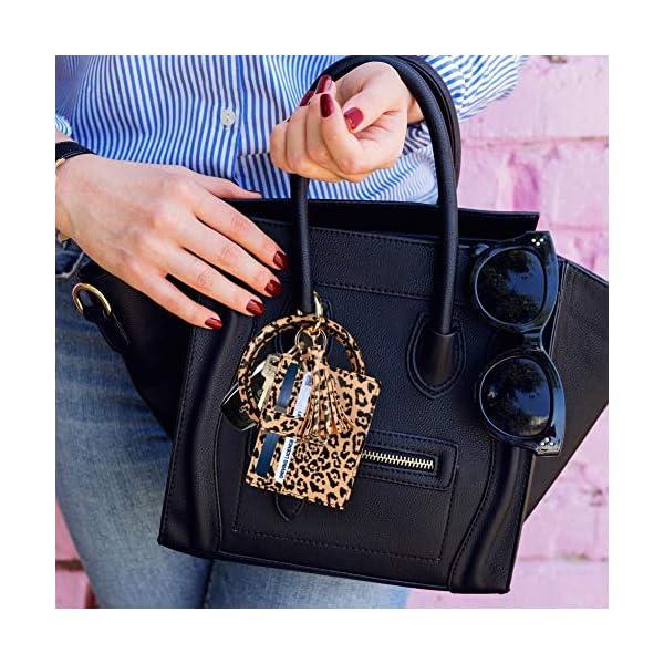 Keychain Bracelet with Card Holder for women|3 Card Slots|PU Leather Wristlet Keyring Bangle