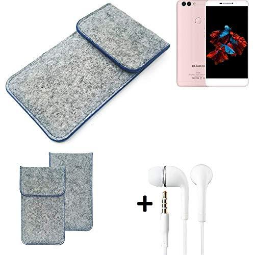 K-S-Trade Filz Schutz Hülle Für Bluboo Dual Schutzhülle Filztasche Pouch Tasche Handyhülle Filzhülle Hellgrau, Blauer Rand + Kopfhörer